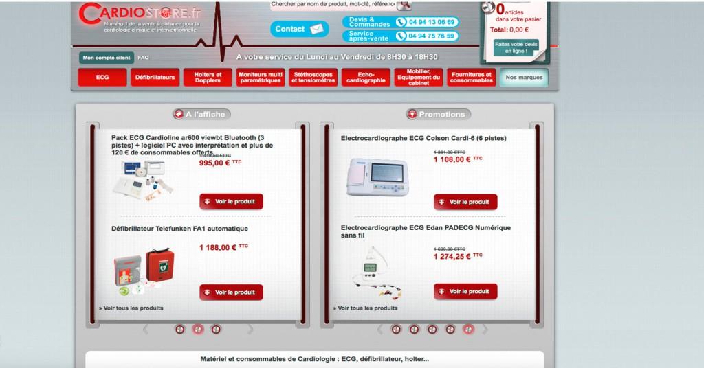 copie d'écran du projet Cardiostore