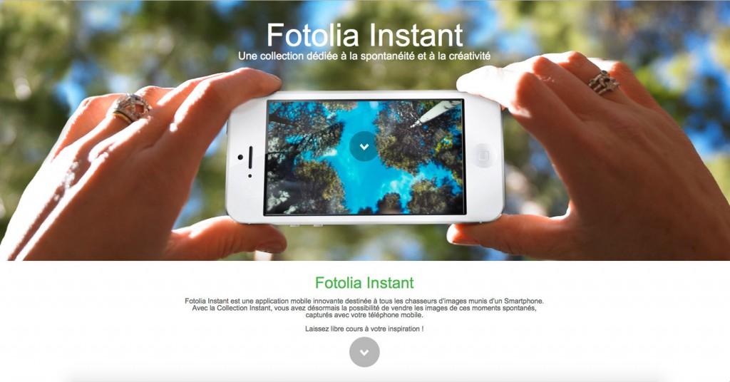 copie d'écran du projet Fotolia-Instant