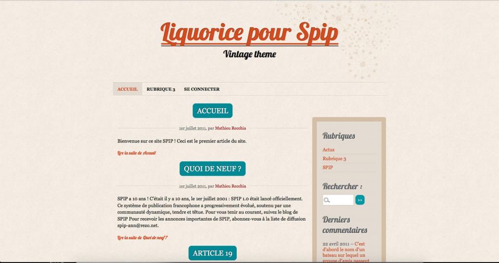 copie d'écran du projet liquorice-Spip