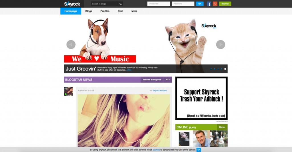 copie d'écran du projet Skyrock.com